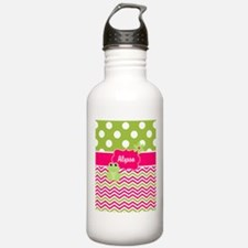 Pink Green Chevron Frog Personalized Water Bottle