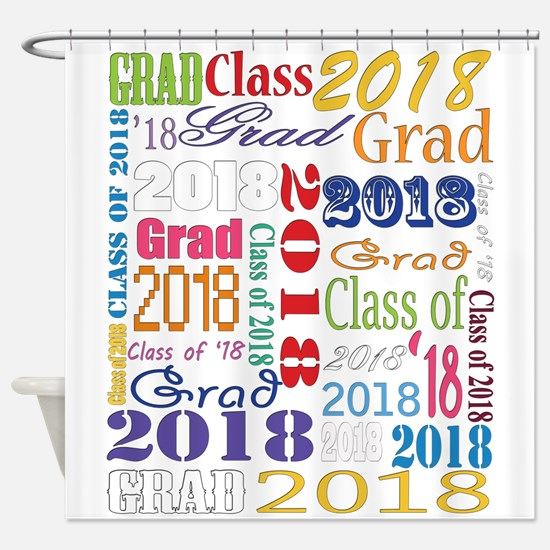 2018 Graduation Typography Shower Curtain