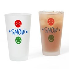 Plus Snow Equals Happy Drinking Glass