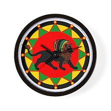 Jah King Rasta Lion Wall Clock