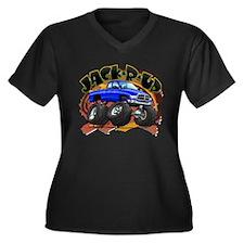 Cute Monster trucks Women's Plus Size V-Neck Dark T-Shirt