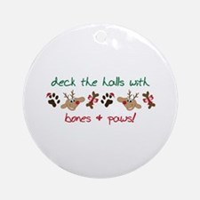 Deck The Halls With Bones+Paws Ornament (Round)