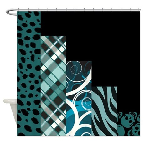Teal Black Shower Curtain By Quiltshop