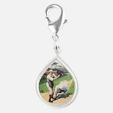 Vintage Baseball Silver Teardrop Charm