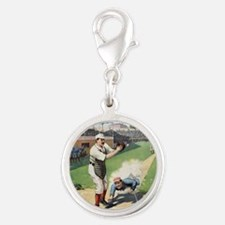 Vintage Baseball Silver Round Charm