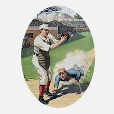 Vintage Baseball Oval Ornament