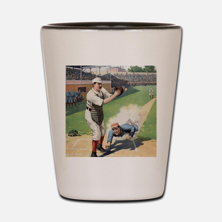 Vintage Baseball Shot Glass