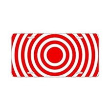 Red Bullseye Aluminum License Plate