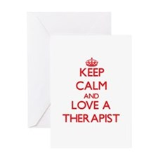 Keep Calm and Love a Therapist Greeting Cards