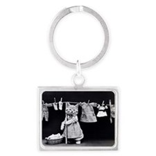 Cats At Work Landscape Keychain