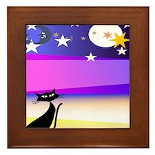 Starry Night Cat Framed Tile