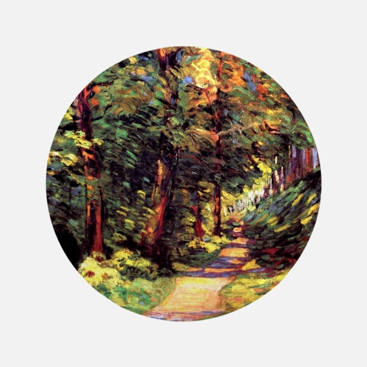 """A Path in the Woods, an Armand Guillau 3.5"""" Button"""