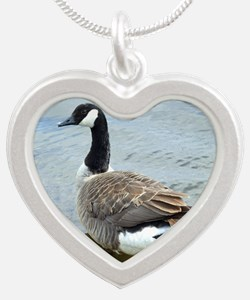 Canadian Goose Silver Heart Necklace