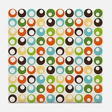 Retro Mod Abstract Circles Tile Coaster