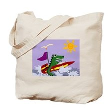 Alligator in Speedboat Tote Bag