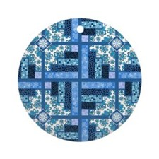 BLUE FLORAL Ornament (Round)
