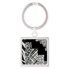 BLACK & GREY Square Keychain