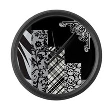 BLACK & GREY Large Wall Clock