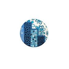 BLUE FLORAL Mini Button (10 pack)