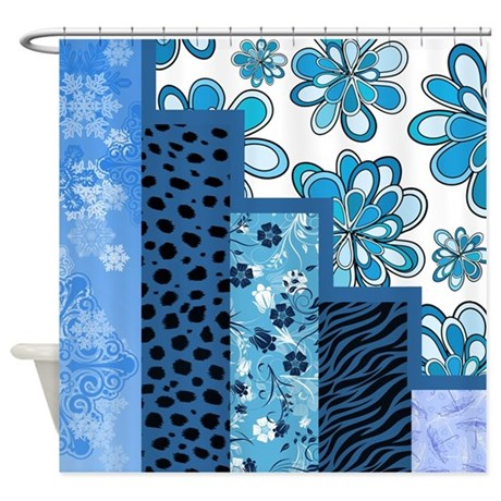 Blue Floral Shower Curtain By Quiltshop