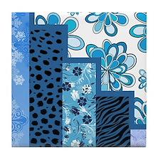 BLUE FLORAL Tile Coaster
