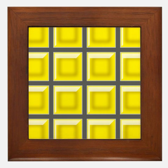 YELLOW AND GRAY GRID Framed Tile