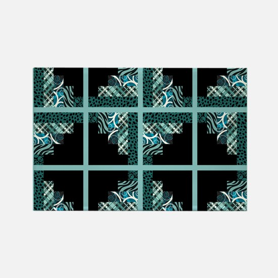 TEAL & BLACK Rectangle Magnet