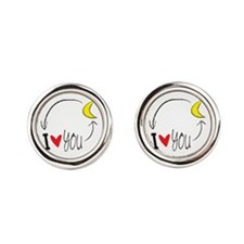 I love you to the moon and back Round Cufflinks