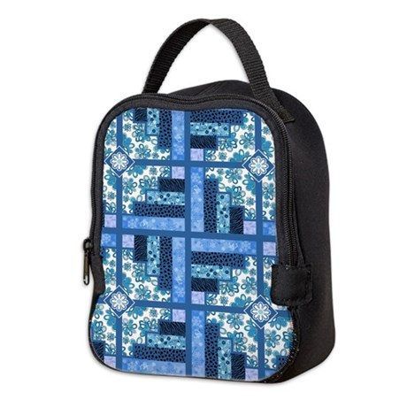 BLUE FLORAL Neoprene Lunch Bag By QuiltShop