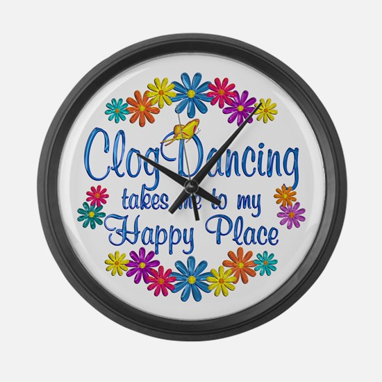Clog Dancing Happy Place Large Wall Clock
