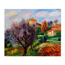 Glackens - Hillside with Olive Trees Throw Blanket