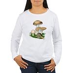 Snail in Mushroom Garden Women's Long Sleeve T-Shi