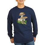 Snail in Mushroom Garden Long Sleeve Dark T-Shirt