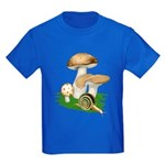 Snail in Mushroom Garden Kids Dark T-Shirt