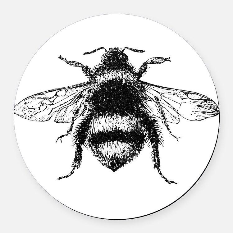 Vintage Honey Bee Round Car Magnet