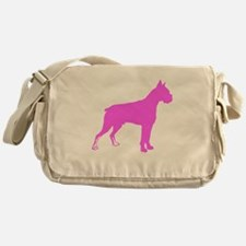 Pink Boxer Silhouette Messenger Bag