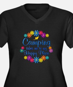 Camping Happ Women's Plus Size V-Neck Dark T-Shirt