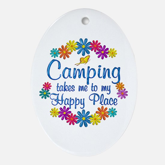 Camping Happy Place Ornament (Oval)