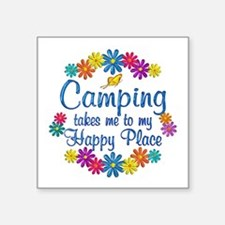 "Camping Happy Place Square Sticker 3"" x 3"""
