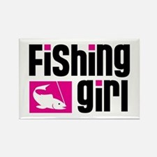Fishing Girl Rectangle Magnet