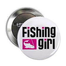 """Fishing Girl 2.25"""" Button"""