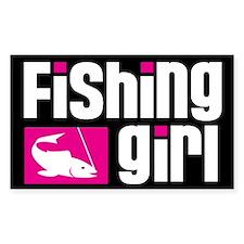 Fishing Girl Rectangle Decal