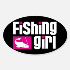 Fishing Girl Oval Decal