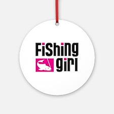 Fishing Girl Ornament (Round)