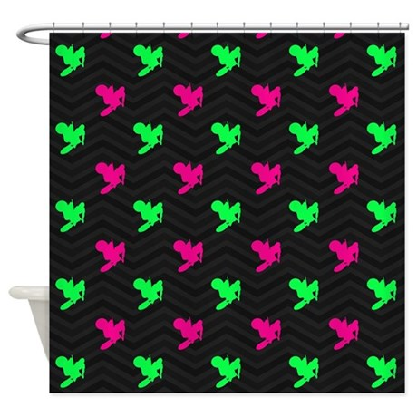 neon green and hot pink motocross shower curtain by clipartmegamart. Black Bedroom Furniture Sets. Home Design Ideas