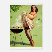 Pin Up Girl, Barbecue Grill, Vintage 5'x7'area Rug