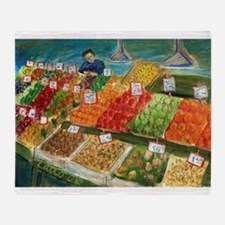 Pike Place Produce Vendor Throw Blanket