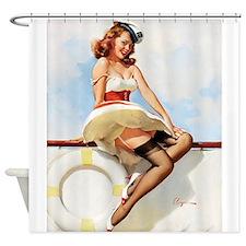 Pin Up Girl, Sailor, Elvgren, Shower Curtain