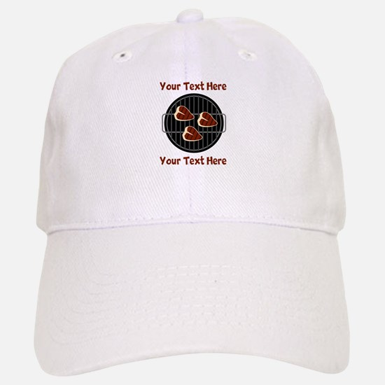 CUSTOM TEXT Meat On BBQ Grill Hat