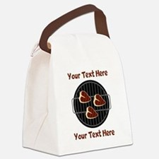 CUSTOM TEXT Meat On BBQ Grill Canvas Lunch Bag